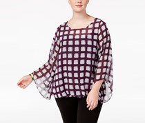 Women's Plus Size Printed Blouson Top,  Soft Squares