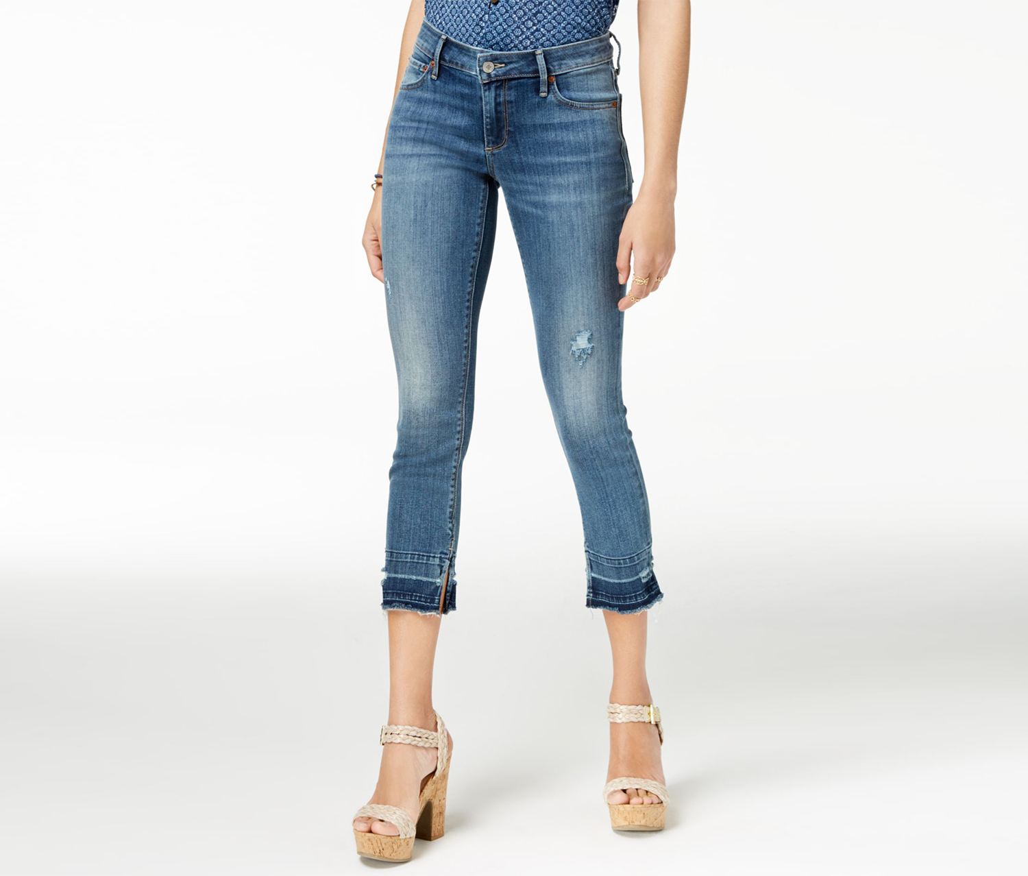Women's Frayed Distressed Jeans, Blue
