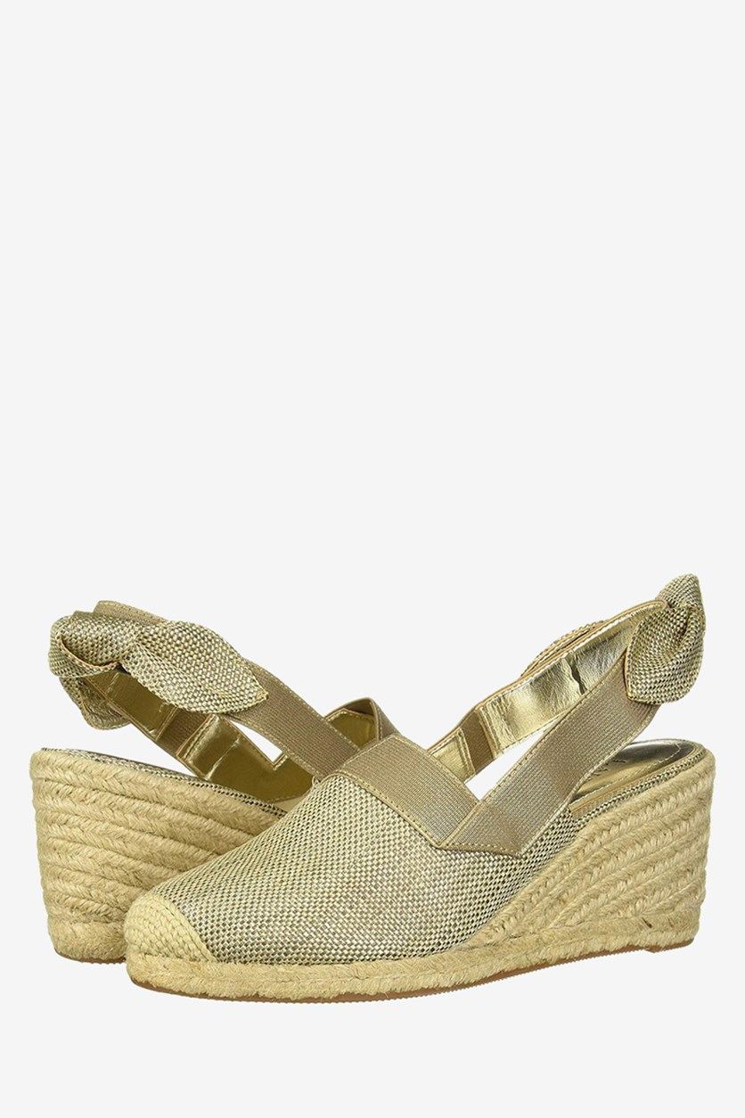 Womens Helma Fabric Closed Toe Wedge, Coated Metallic Straw