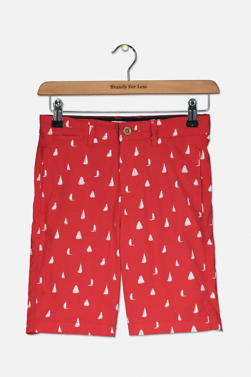 Boys Chase All Over Print  Short, Haute Red