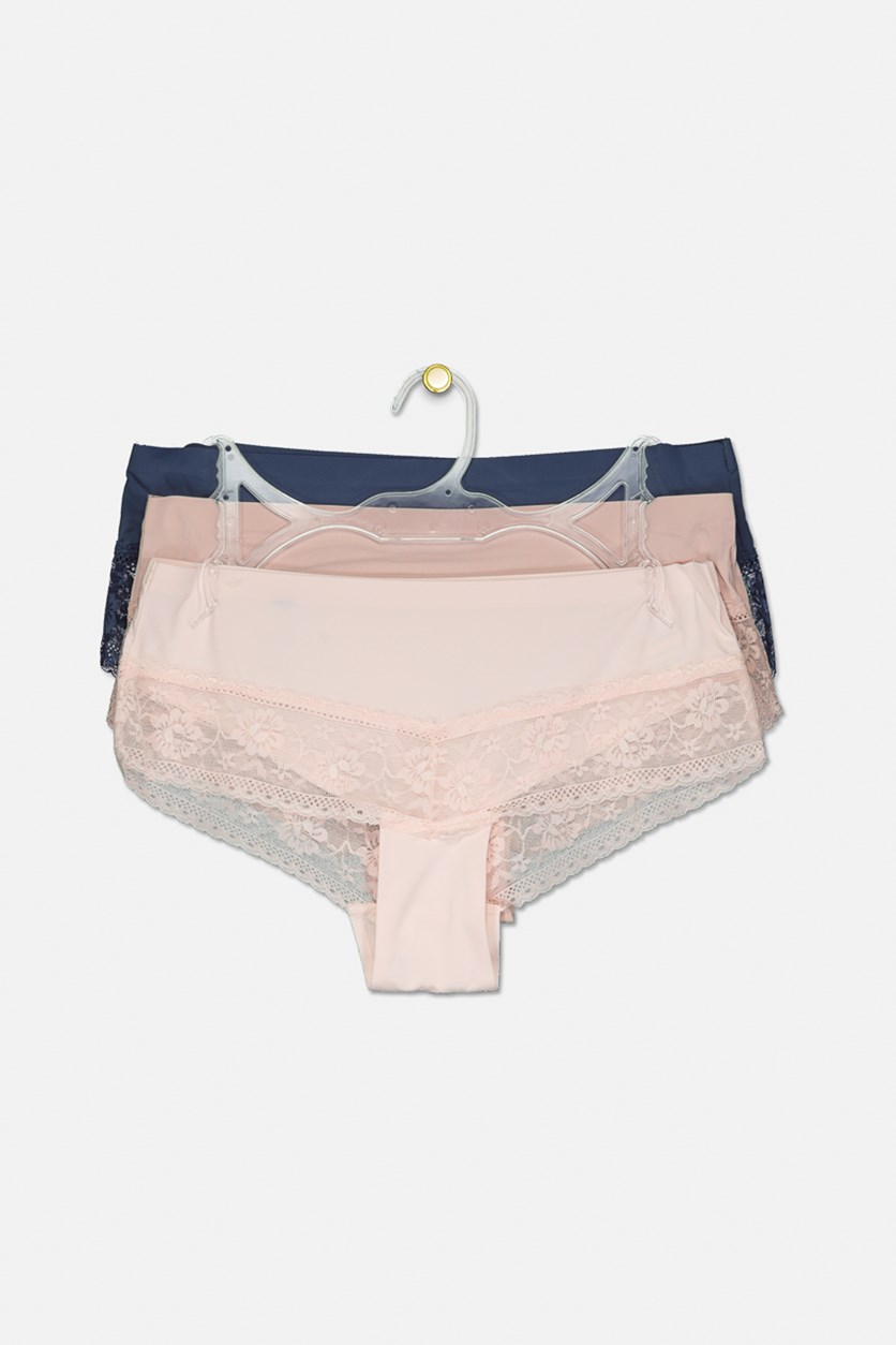 Women's Set Of 3 Lace Hipster Panty, Pink/Navy/Old Rose