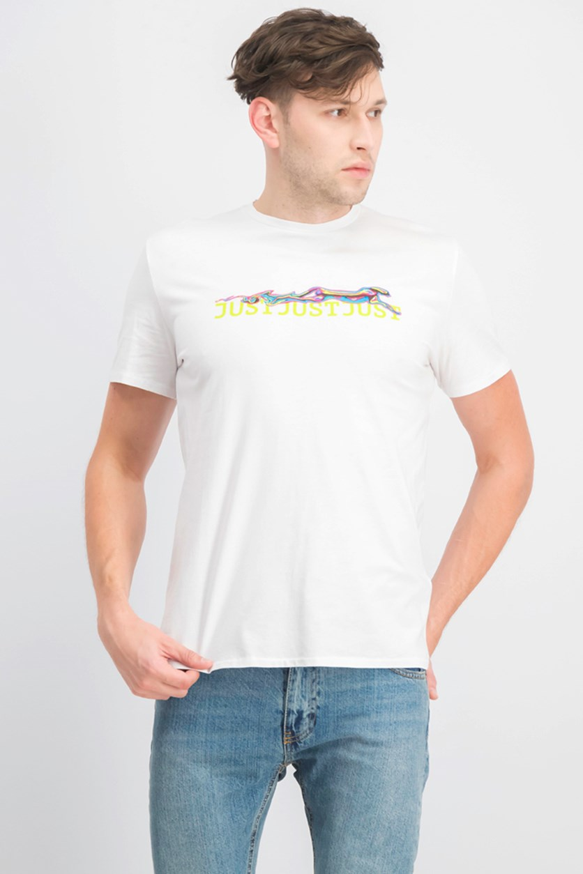 Men's Embroidered Print Top, White