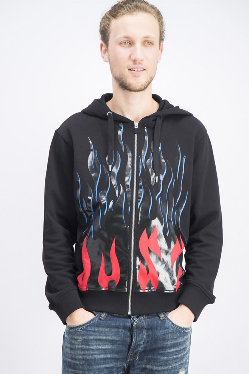 Men's Flame Graphic Hooded Sweatshirt, Black