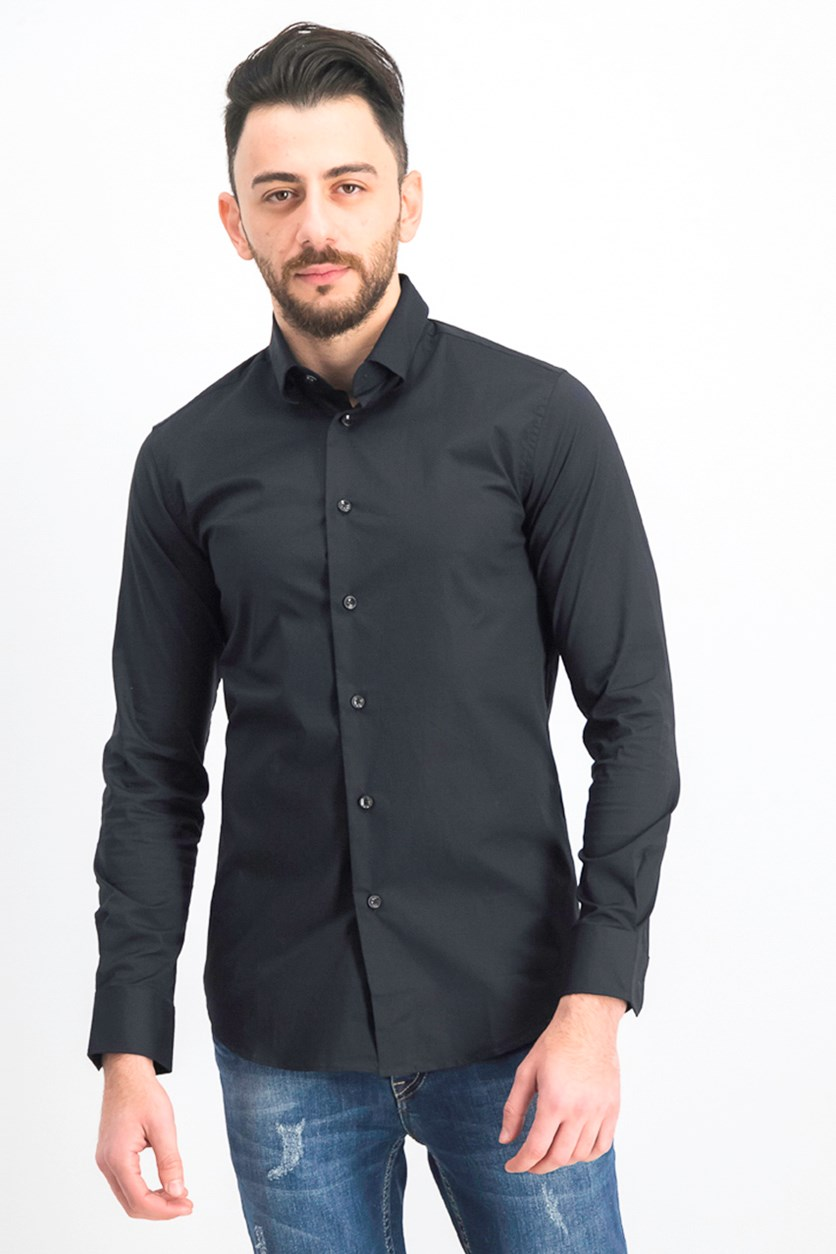 Men's Camicia Slim Fit Dress Shirt, Black