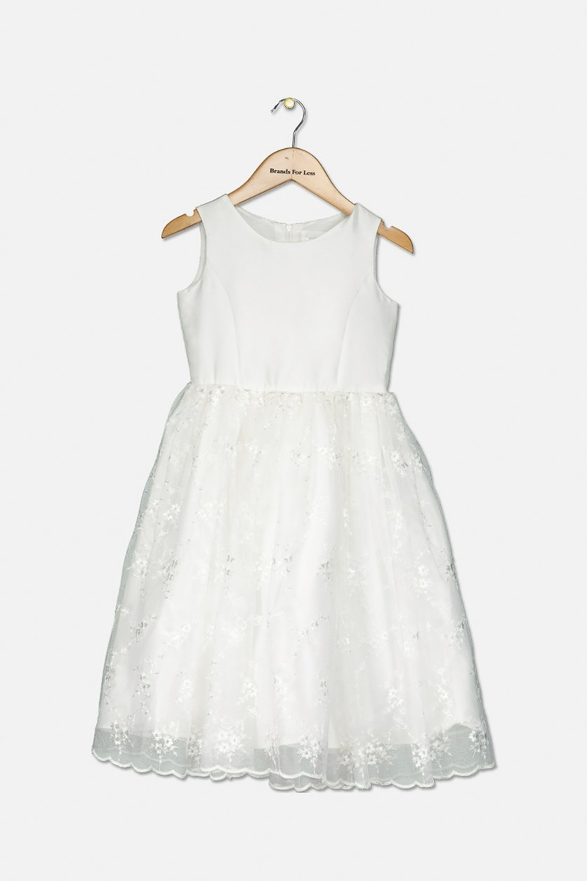 Girl's Embroidered Communion Dress, Ivory
