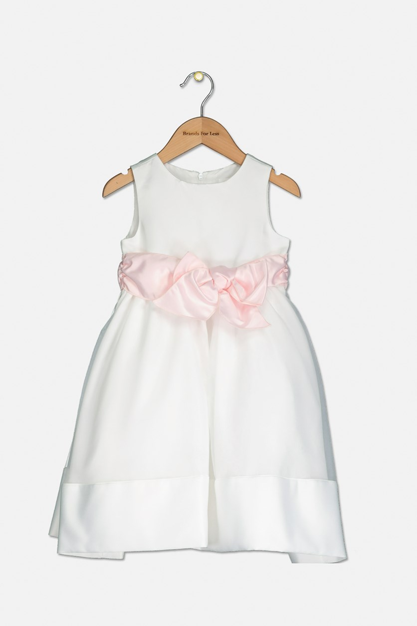 Toddler Girls Sleeveless Bodice with As Sash and Hem Full Skirt, Ivory/Blush