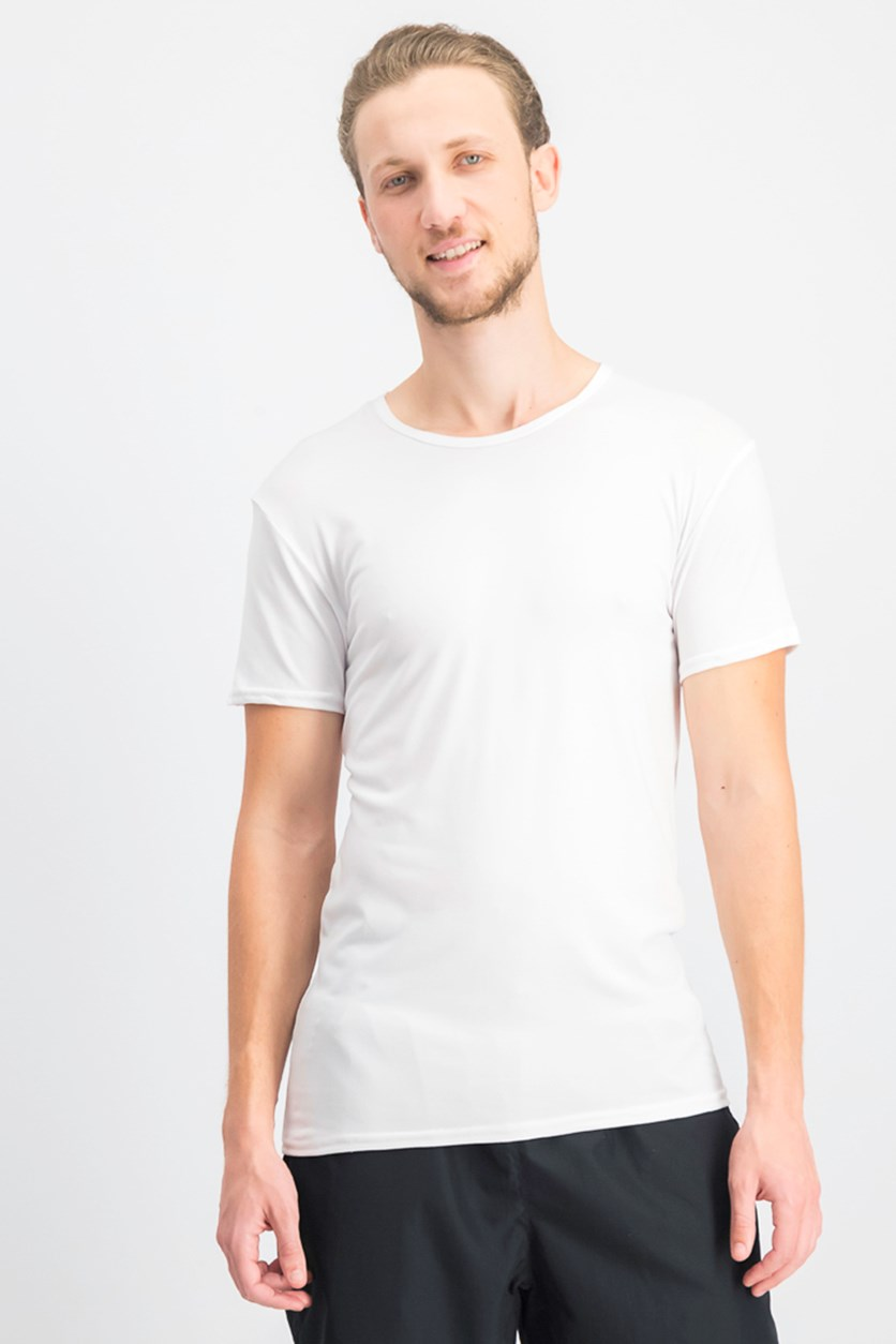 Men's Micro Modal Crew Neck Set of 3 Undershirt, White