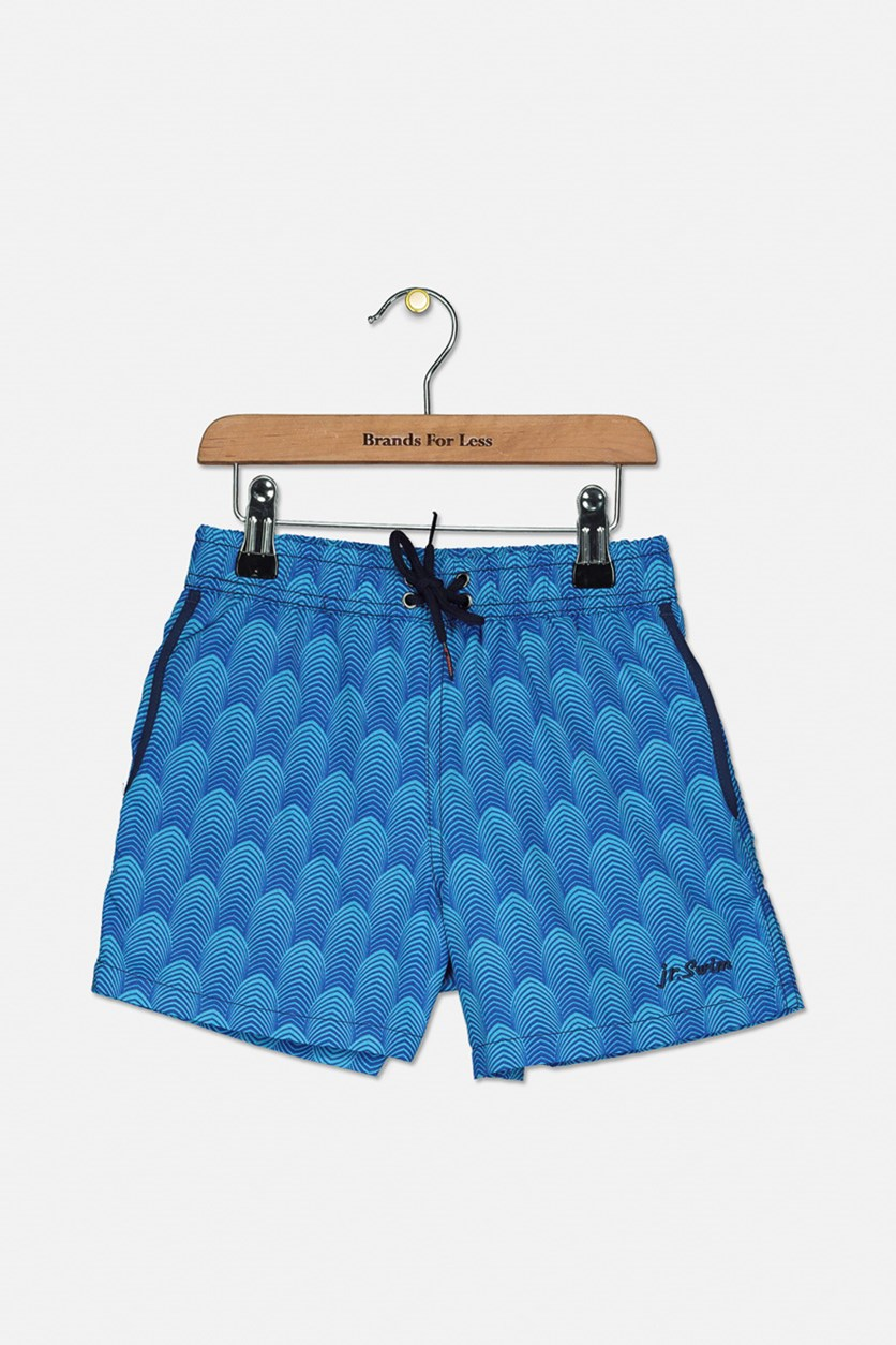 Toddler Boy's Deco Swim Trunks, Aqua