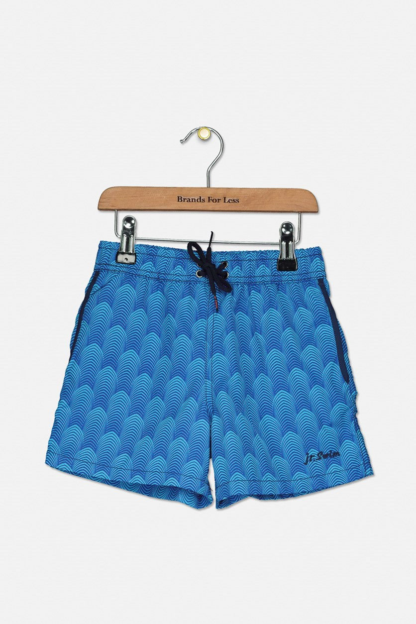 Little Boy's Deco Swim Trunks, Aqua
