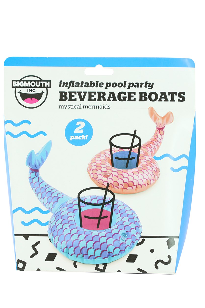 Mermaid Tail Beverage Boats, Blush/Blue