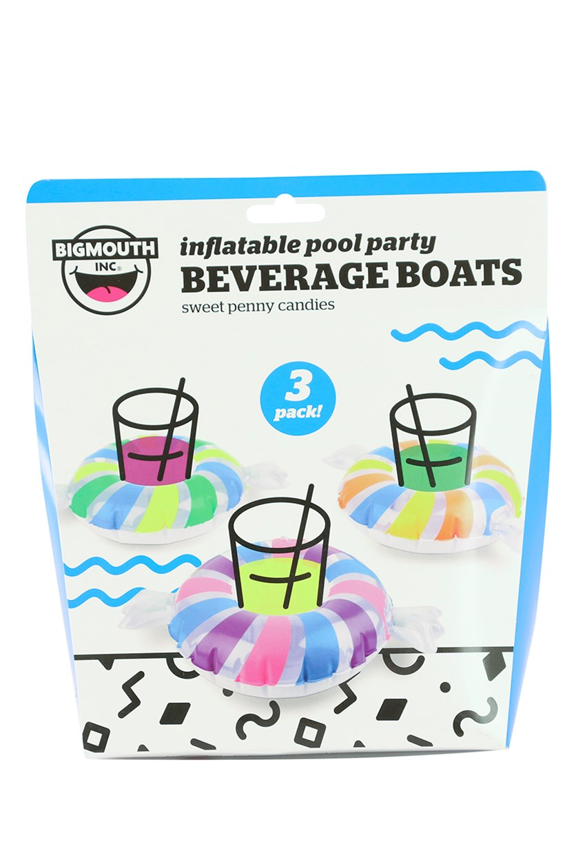 3 Pack Beverage Boats, White/Blue Combo
