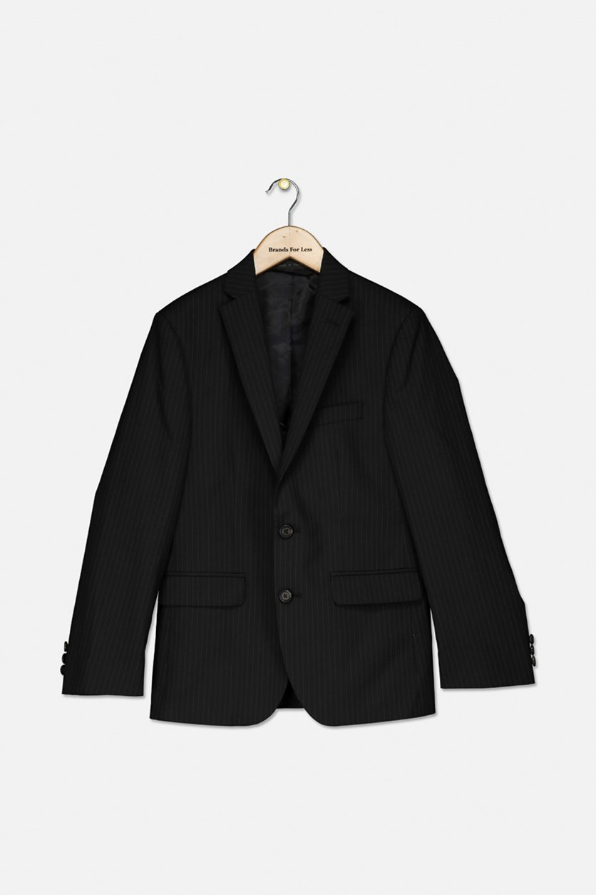 Boys Striped Blazer, Black