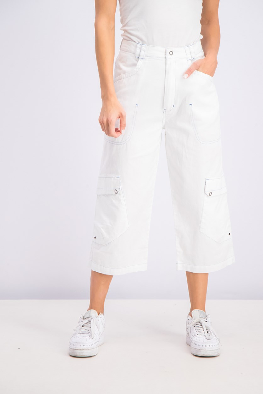 Women's 3/4 Bermuda Cargo Shorts, White