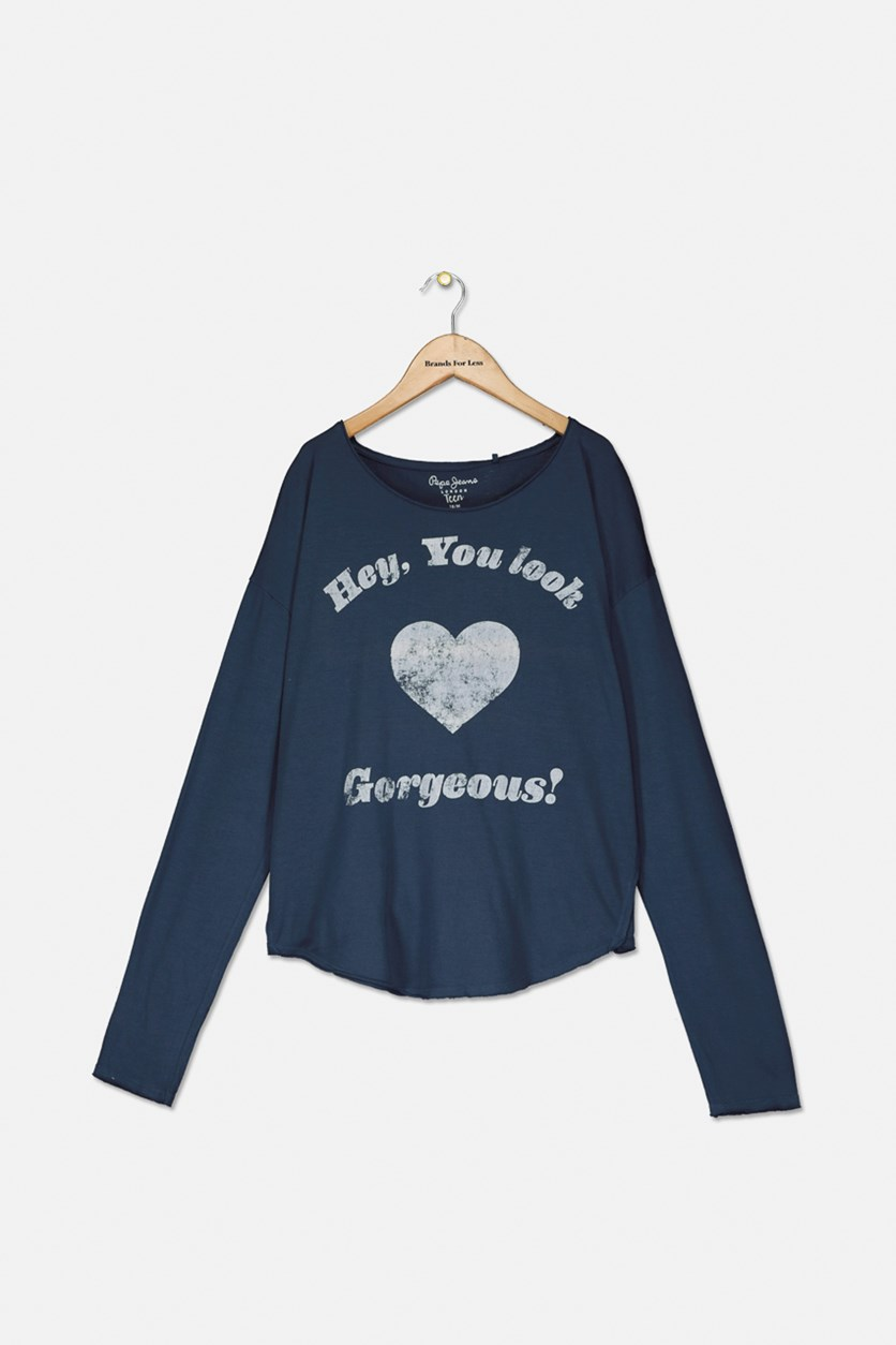 Girls Graphic Sweater, Navy Blue