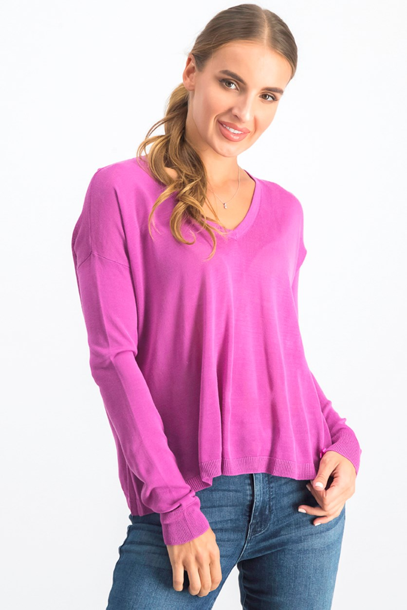 Women's V Neck Sweater, Purple