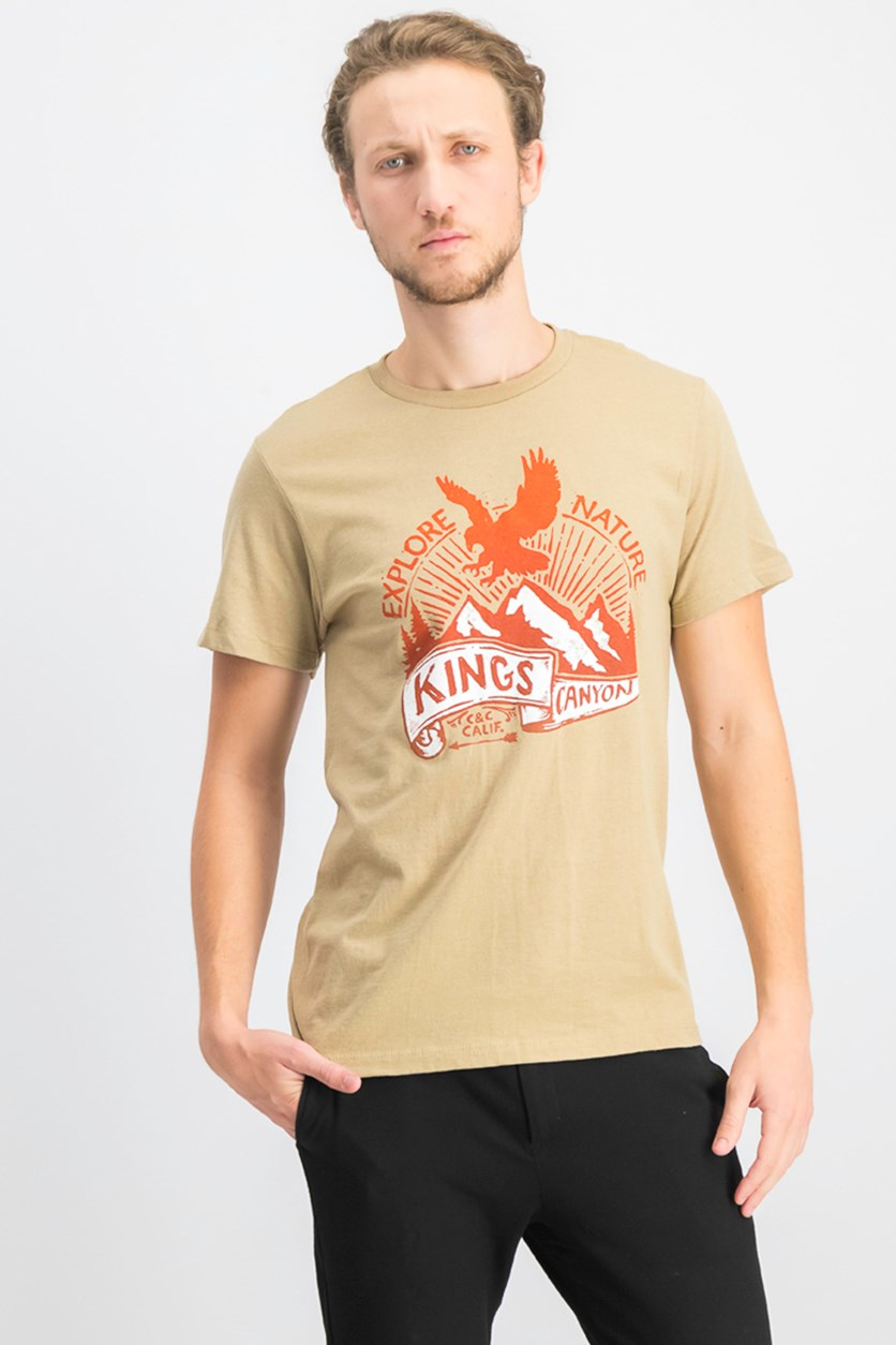 Men's Graphic Printed T-Shirt, Khaki