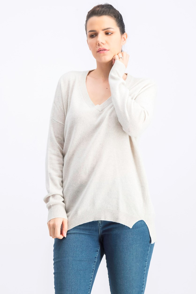 Women's Drop Shoulder Cashmere Sweater, Grey