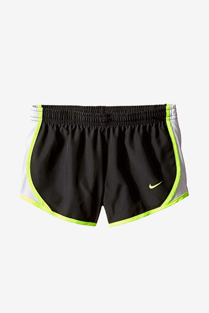 Girl's Running Shorts, Grey/White/Neon Green