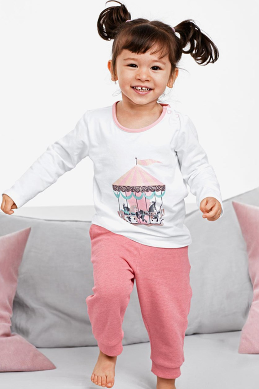 Kids Girl's Sweat Pants With Longsleeves T-Shirt, White/Pink