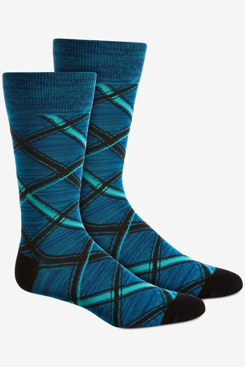 Men's Plaid Socks, Blue