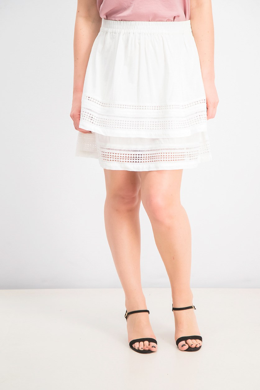 Women's Lace Tiered Ruffle Skirt, White