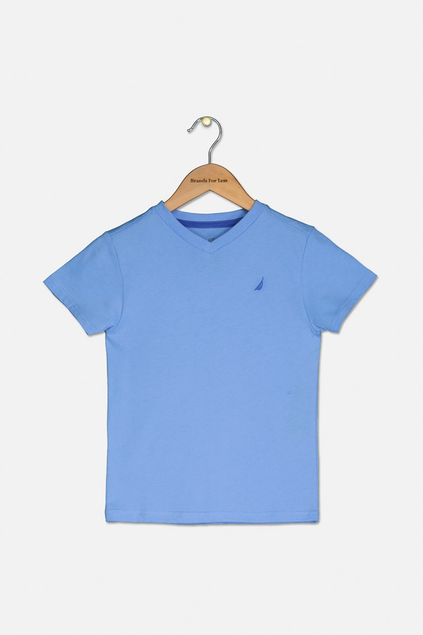 Toddler's Boy's V-Neck T-Shirt, Corn Blue