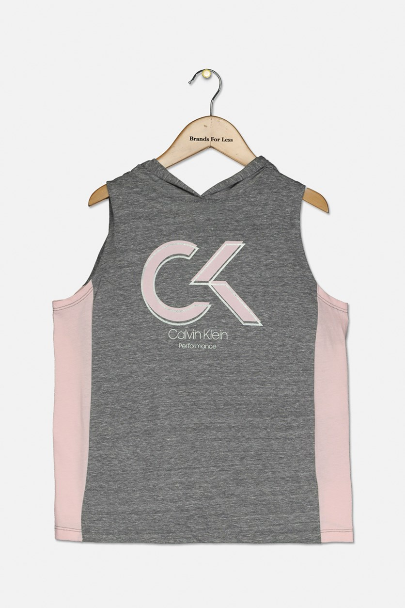 Big Girls Hooded Colorblocked Tank Top, Light Pink/Grey