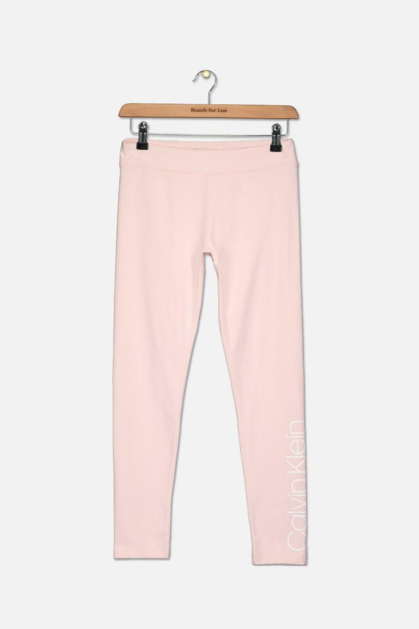 Girls Logo-Print Leggings, Light Pink