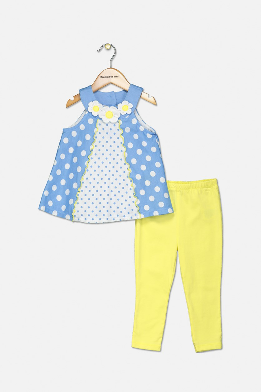 Baby Girls 2-Pc. Dot-Print Tunic & Leggings Set, Blue/Yellow