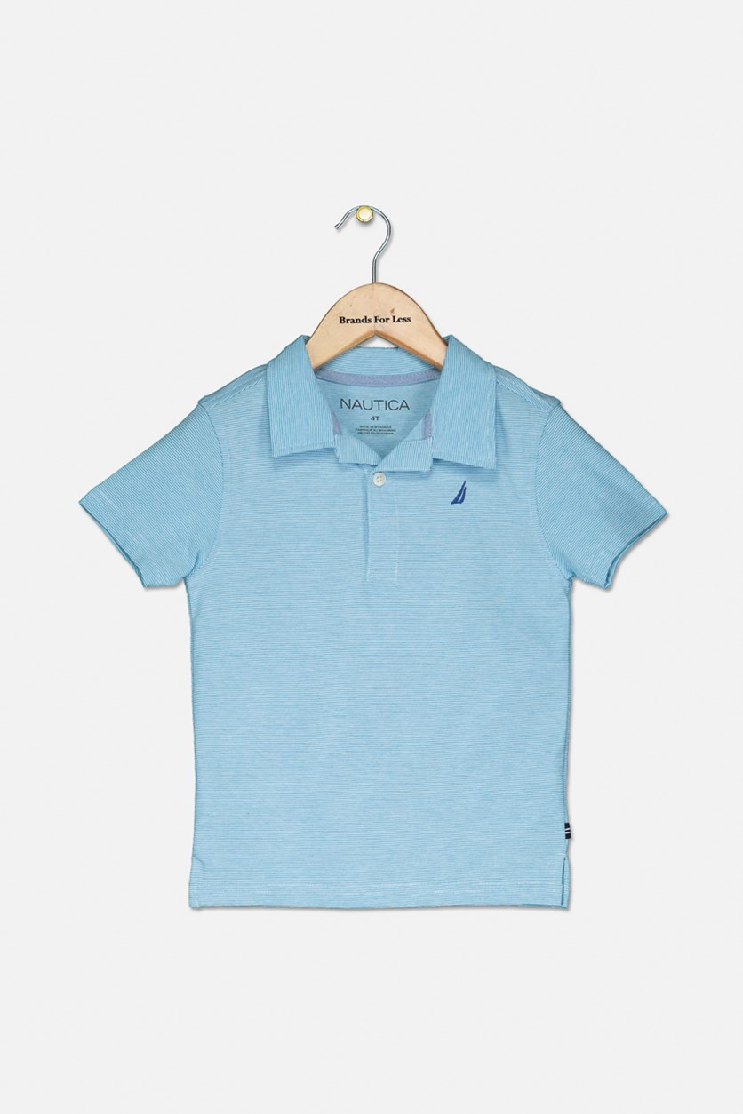 Toddler's Boy's Short Sleeves Polo Shirt, Blue/White