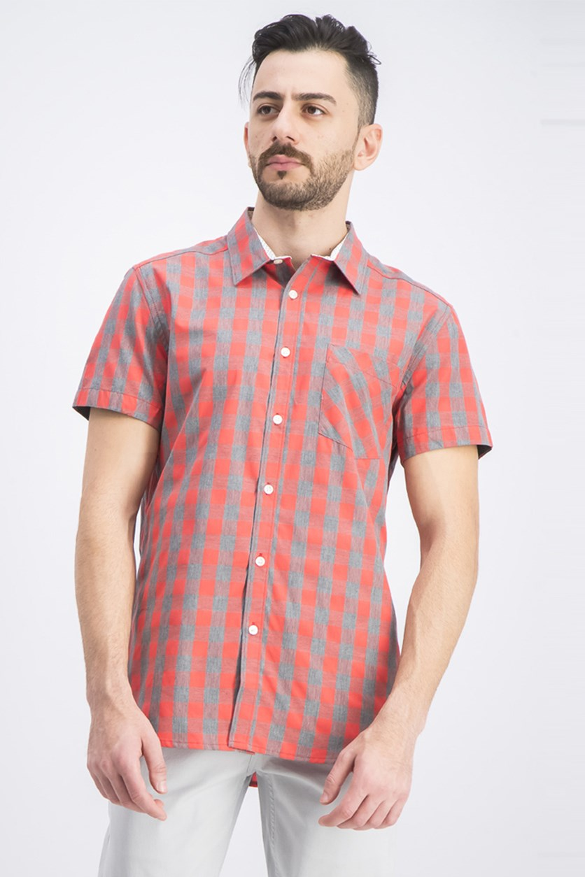 Men's Short Sleeves Heather Checkered Shirt, Red/Gray