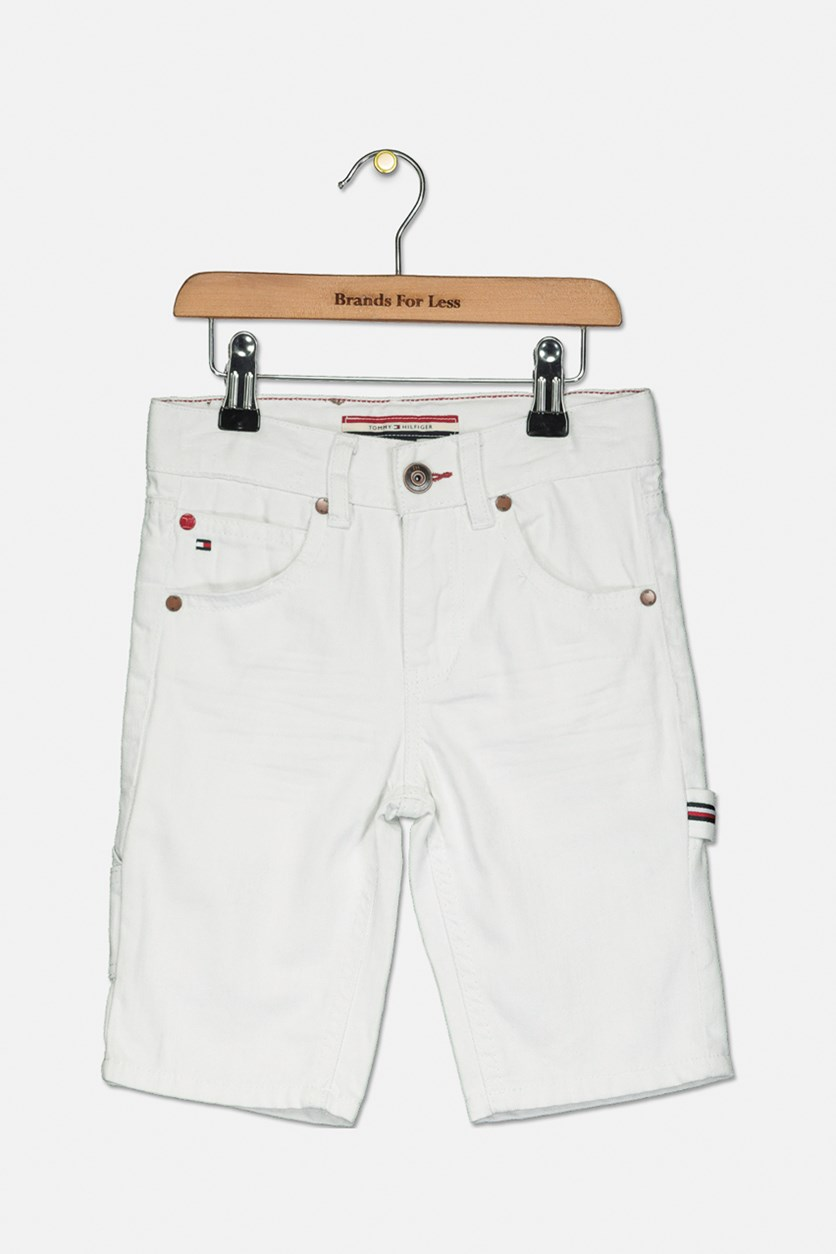 Toddler Boy's Denim Carpenter Shorts, White