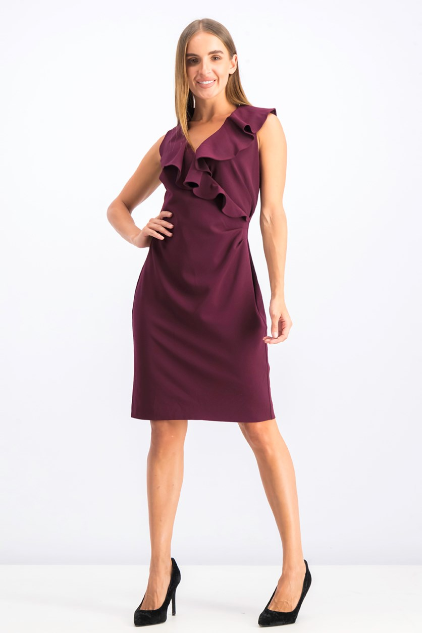 Women's Ruffled Surplice Sleeveless Cocktail Dress, Maroon