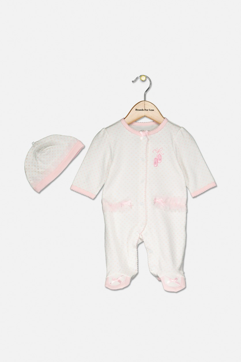 Baby Girls Coverall with Matching Hat, Pink