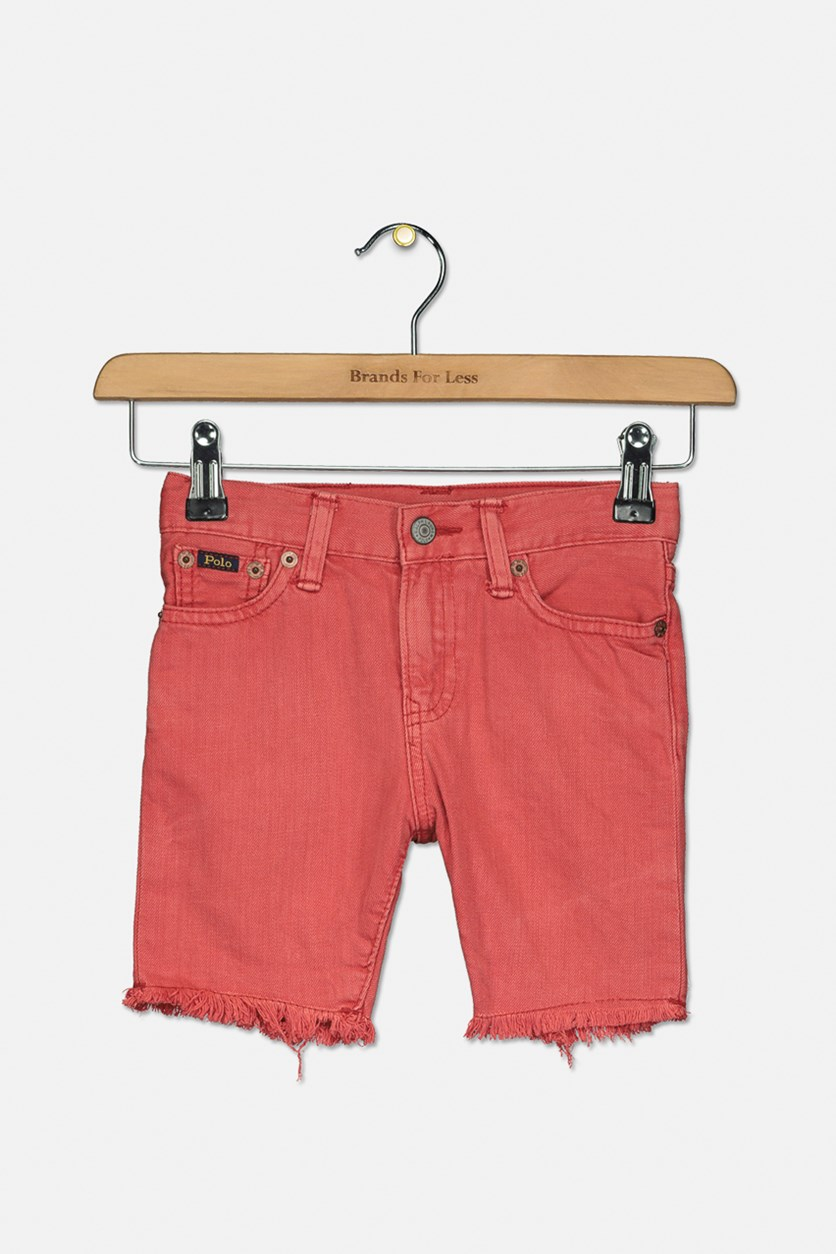 Toddler's Girl's Raw-Hem Denim Shorts, Fin Red