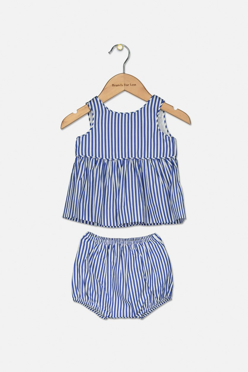 Baby Girls Striped  Top & Shorts Set, Blue/White
