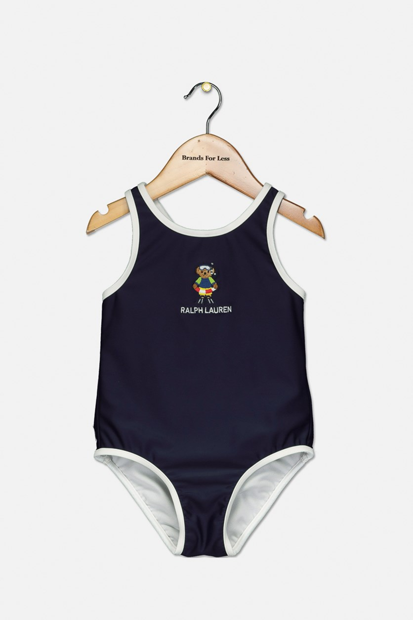 Little Girls' Scuba Bear Swimsuit, Navy