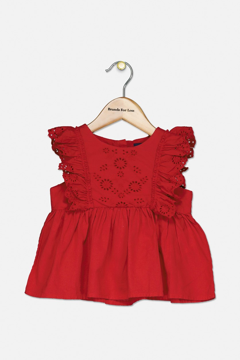 Toddler Girls Ruffled Eyelet Cotton Top, Red