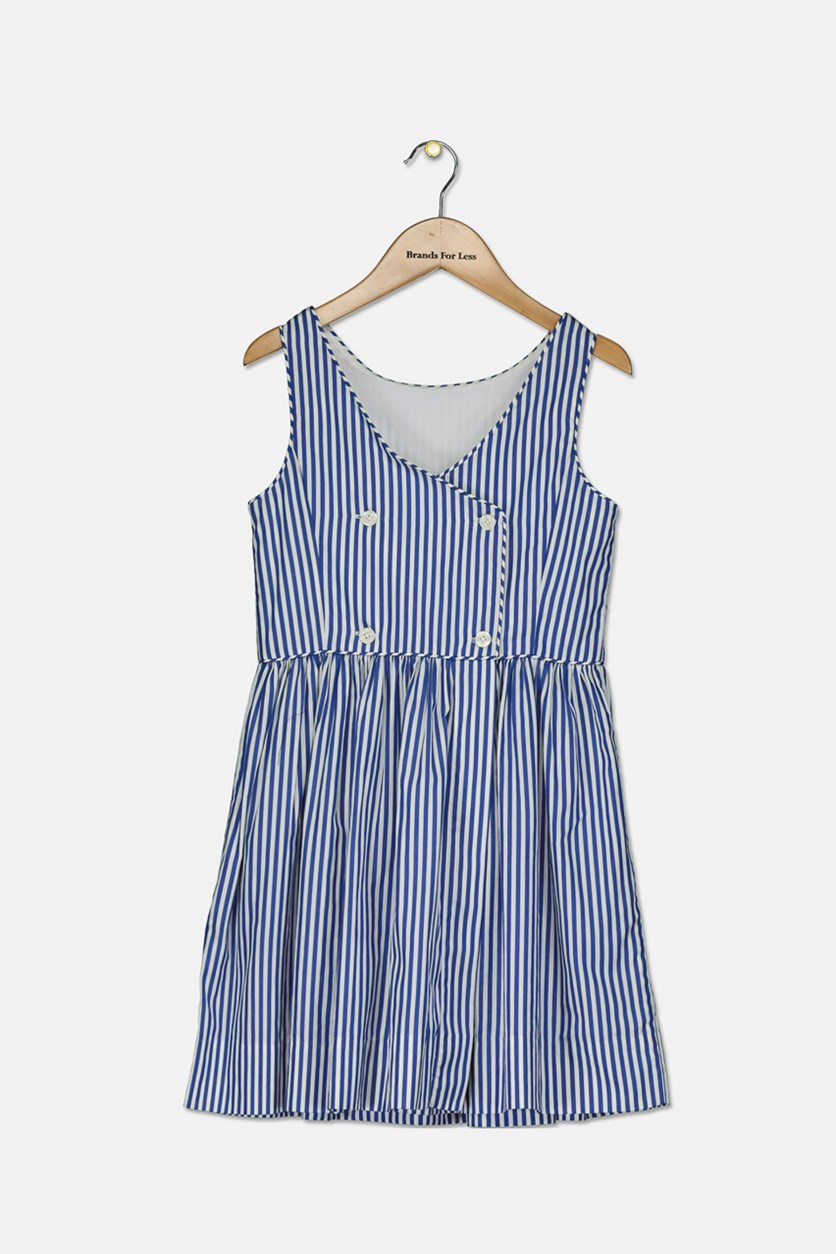 Big Girls Bengal-Stripe Dress, Blue/White