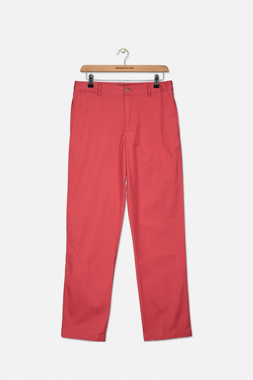 Boy's Flat Front Chino Pants, Red