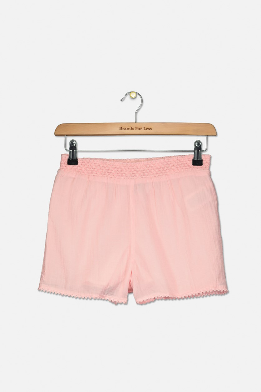 Big Girls Lace-Trim Cotton Shorts, Pink
