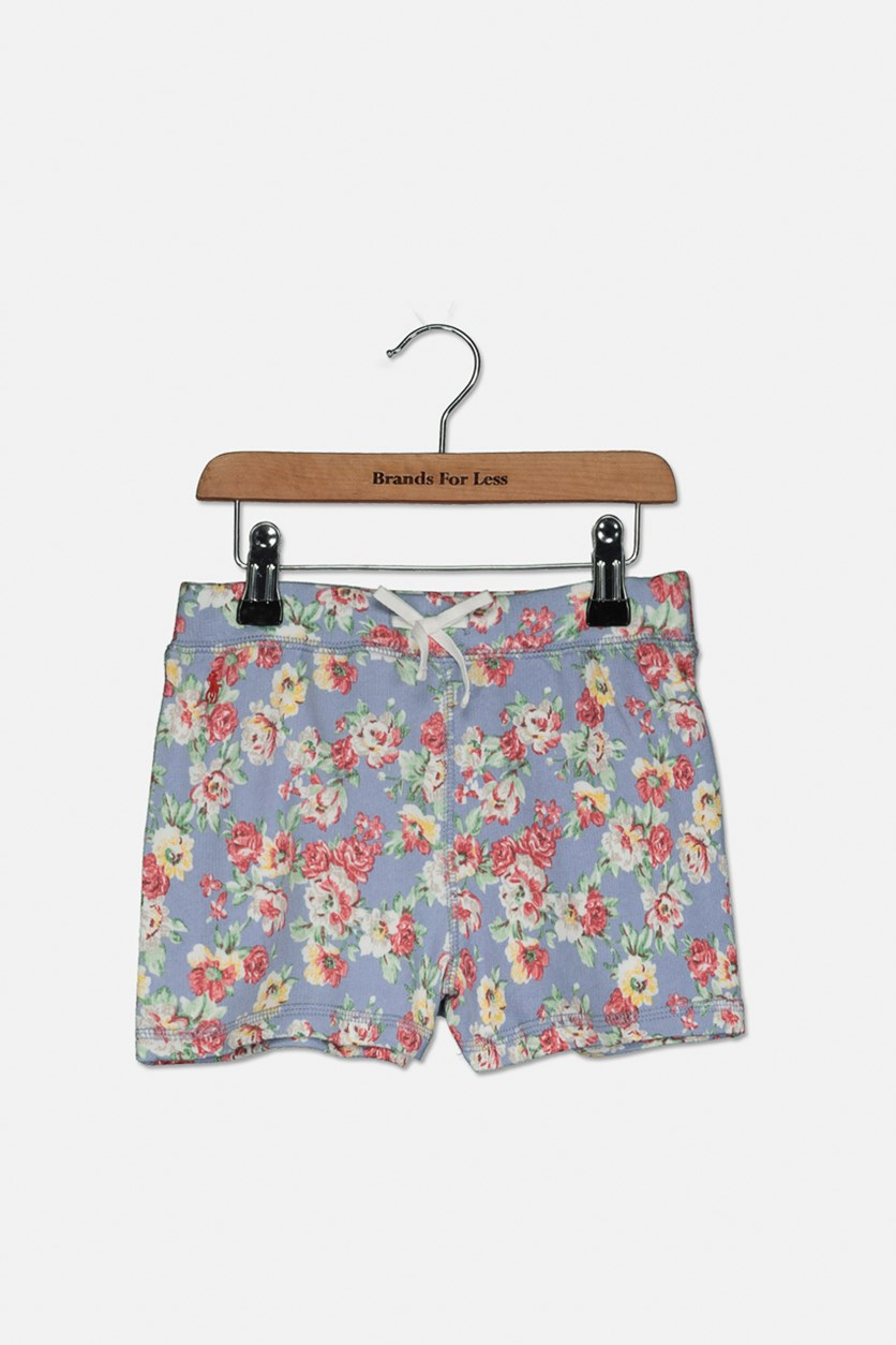 Little Girls Floral Cotton French Terry Shorts, Blue