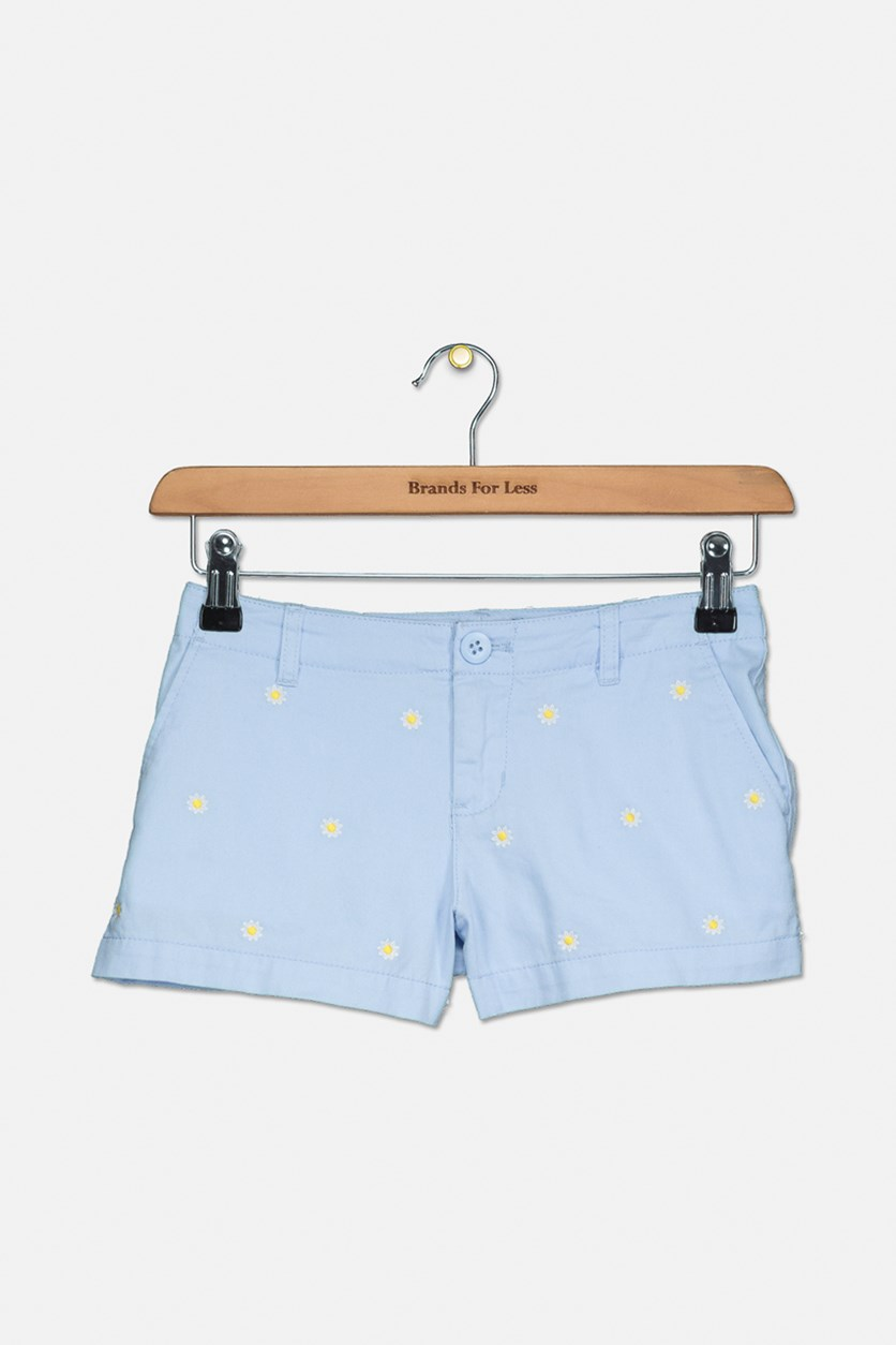 Girls' Embroidered Chino Shorts, Blue