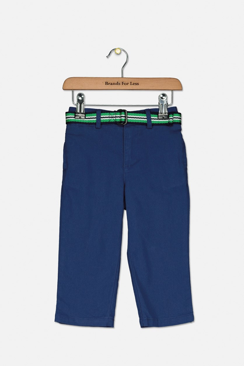Twill Straight-Leg Pants W/ Striped Belt, Blue