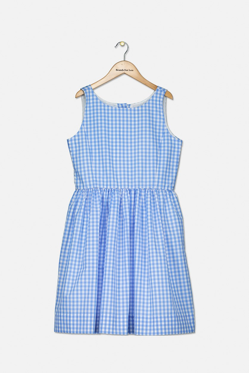 Big Girls' Checkered Fit-and-Flare Dress, Blue