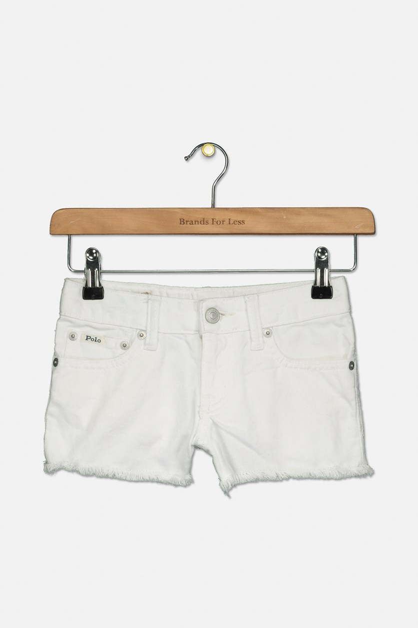 Girls' Frayed Denim Shorts, White