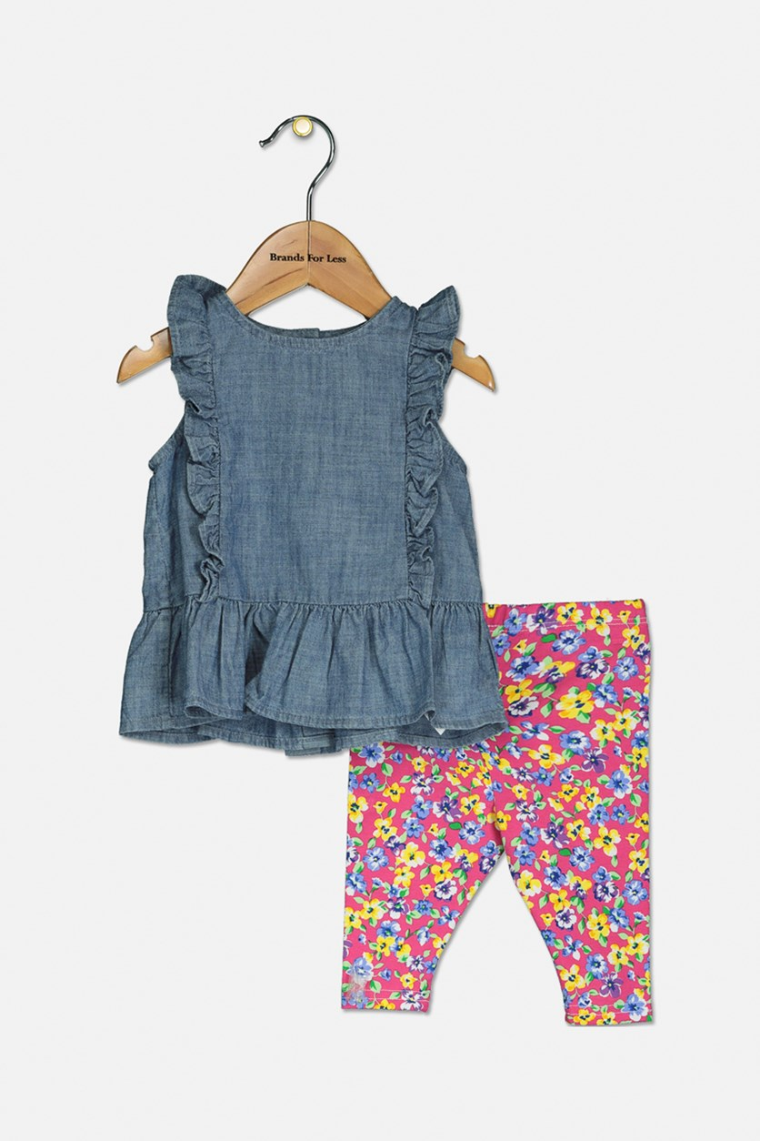 Toddler Girls' Chambray Top & Floral Legging, Blue/Pink