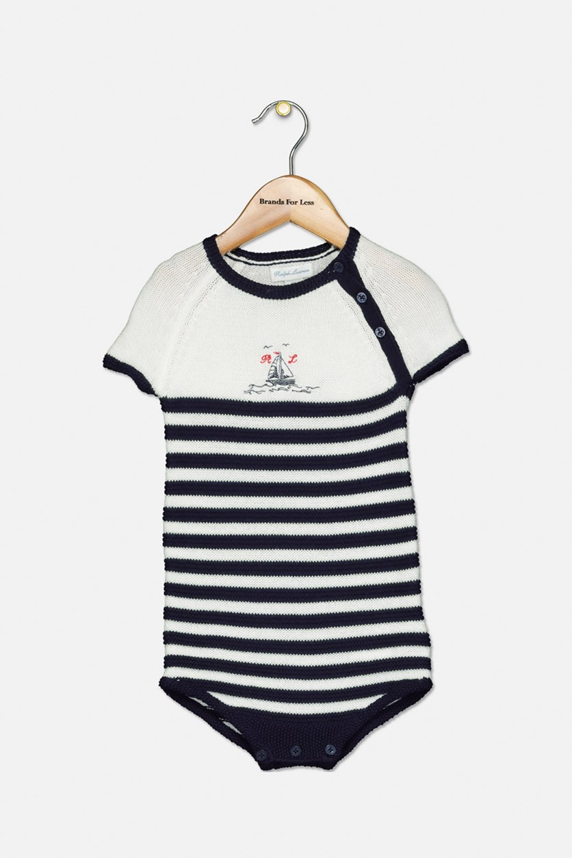 Little Boys' Striped Knit Bodysuit, Navy/White