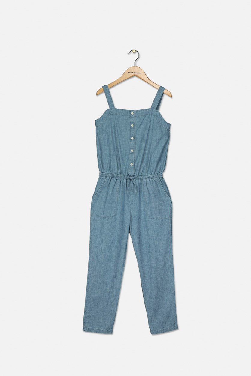 Big Girl's Cotton Chambray Jumpsuit, Indigo