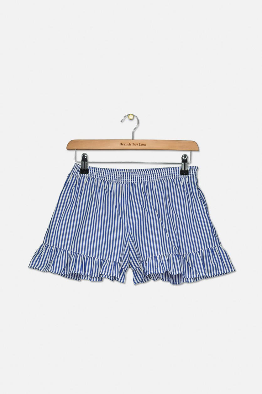 Big Girls Striped Ruffled Shorts, Blue/White
